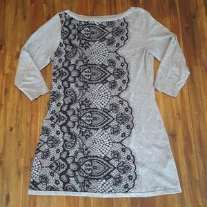 Gray tunic with back lace detail